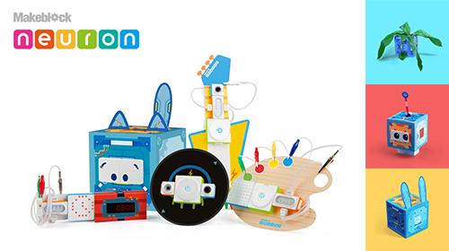 機能が異なる8種類のブロックを組み合わせて、革新的なガジェットを創り出そう!【Makeblock】 Neuron Inventor Kit