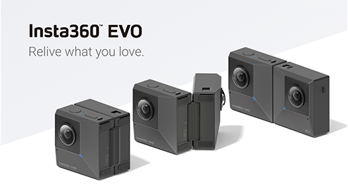 Insta360™ EVO広げて180度3D撮影、折りたたんで360度撮影できるハイブリットアクションカメラ